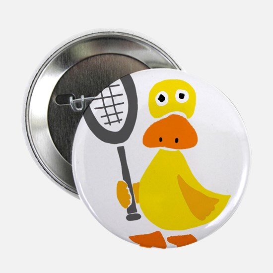 """Primitive Duck Playing Tennis 2.25"""" Button"""