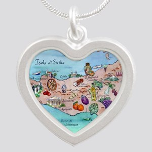 Map Of Sicily Necklaces