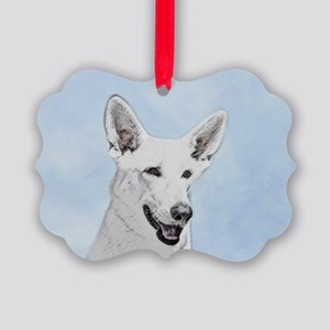White Shepherd Picture Ornament