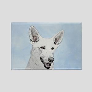 White Shepherd Rectangle Magnet