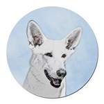 White Shepherd Round Car Magnet