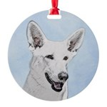 White Shepherd Round Ornament