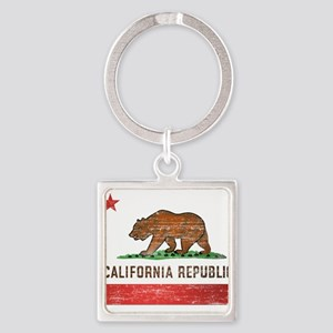 Vintage California Flag Square Keychain