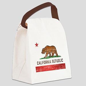 Vintage California Flag Canvas Lunch Bag