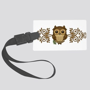 Cute Brown Owl Large Luggage Tag