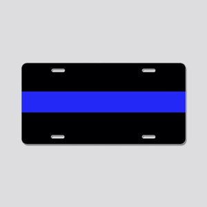 Blue and Black Police Aluminum License Plate