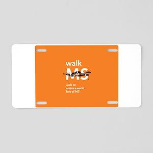 Orange- Walk MS Aluminum License Plate