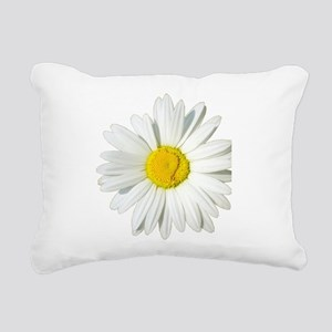 White Daisy Rectangular Canvas Pillow