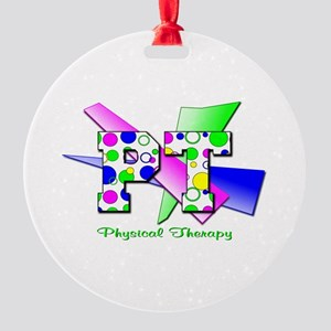 Circles and Dots Round Ornament