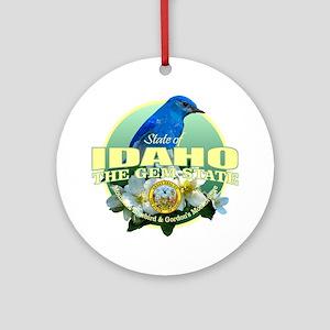 Idaho State Bird & Flower Round Ornament