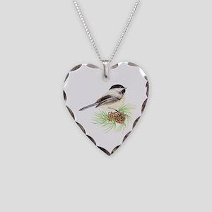 Chickadee Pine Necklace Heart Charm