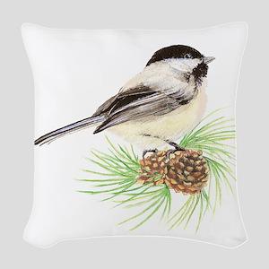 Chickadee Pine Woven Throw Pillow