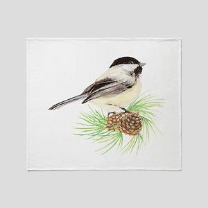 Chickadee Pine Throw Blanket