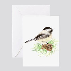Chickadee Pine Greeting Card