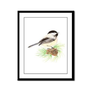 Chickadee Pine Framed Panel Print