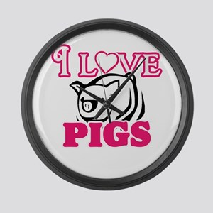 I Love Pigs Large Wall Clock