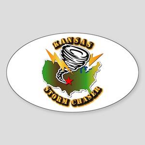 Storm Chaser - Kansas Sticker (Oval)