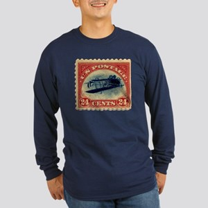Rare Inverted Jenny Stamp Long Sleeve Dark T-Shirt