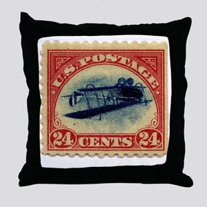 Rare Inverted Jenny Stamp Throw Pillow