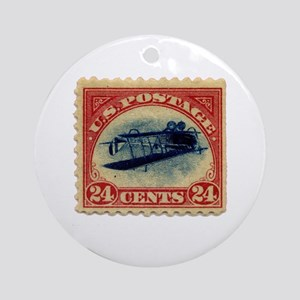 Rare Inverted Jenny Stamp Ornament (Round)