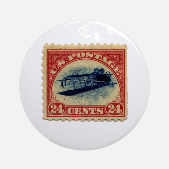 Rare Inverted Jenny Stamp Ornament (Round)