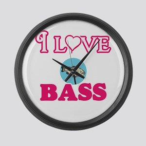 I Love Bass Large Wall Clock