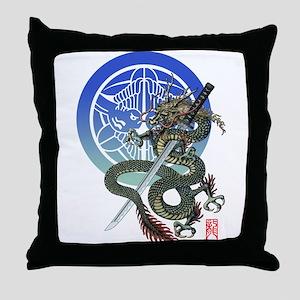Dragon katana Uesugi Throw Pillow