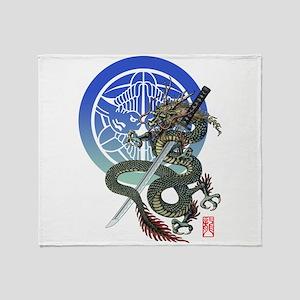 Dragon katana Uesugi Throw Blanket