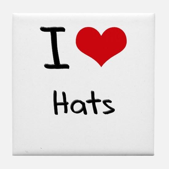 I Love Hats Tile Coaster