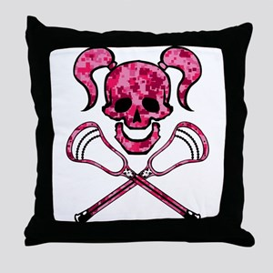 Lacrosse Pink Lady Digital Camo Skull Throw Pillow