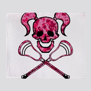 Lacrosse Pink Lady Digital Camo Skull Throw Blanke