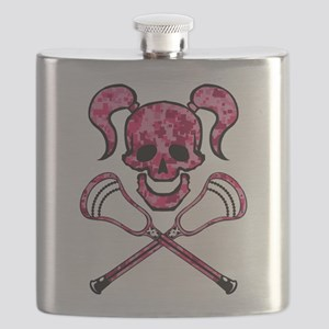 Lacrosse Pink Lady Digital Camo Skull Flask