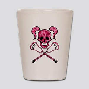Lacrosse Pink Lady Digital Camo Skull Shot Glass