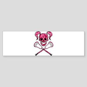 Lacrosse Pink Lady Digital Camo Skull Bumper Stick