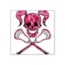 Lacrosse Pink Lady Digital Camo Skull Sticker