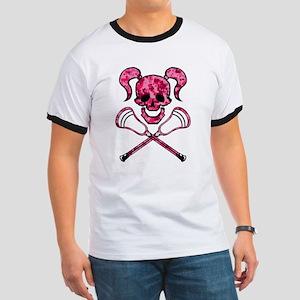 Lacrosse Pink Lady Digital Camo Skull T-Shirt