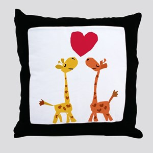 Funny Giraffe Love Throw Pillow