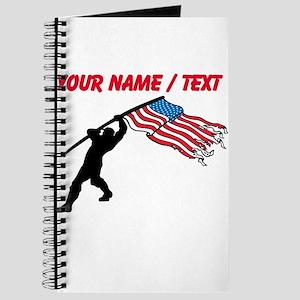 Custom Soldier Planting American Flag Journal