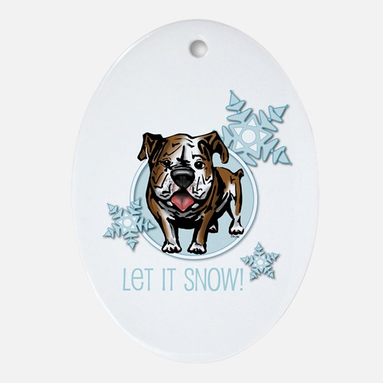 Let it Snow Bulldog Oval Ornament