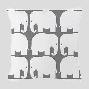 White Elephants Silhouette Woven Throw Pillow