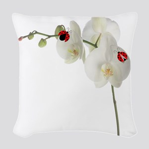 Lady Bugs Orchid Woven Throw Pillow