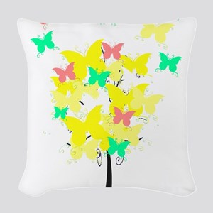 Yellow Butterfly Tree Woven Throw Pillow