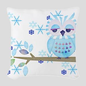 Blue Striped Winter Snow Owl Woven Throw Pillow