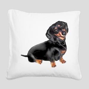 Black-Tan Dachshund Square Canvas Pillow