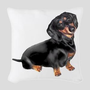 Black-Tan Dachshund Woven Throw Pillow