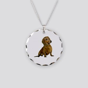 Brown/Red Dachshund Necklace Circle Charm