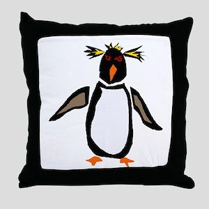Funky Rockhopper Penguin Throw Pillow