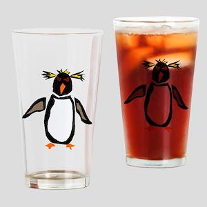 Funky Rockhopper Penguin Drinking Glass