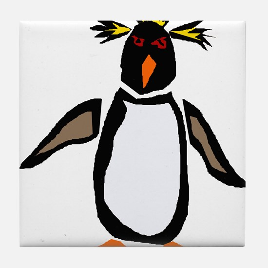 Funky Rockhopper Penguin Tile Coaster