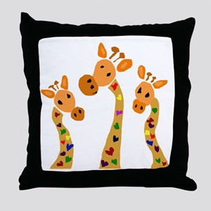 Whimsical Giraffe Art Throw Pillow